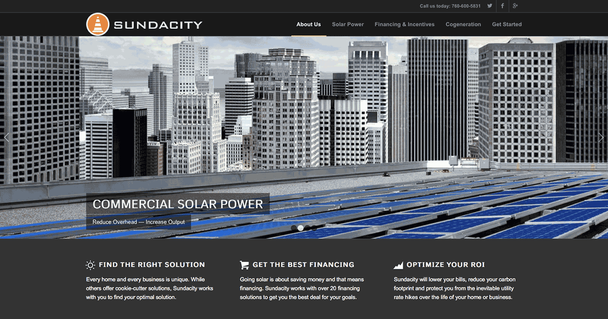 Sundacity.com homepage by Speed of Like
